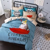 Boys Light Blue Red Black and White Parrot Print Bird Animal Hipster Style Shabby Chic 100% Cotton Twin, Full Size Bedding Sets