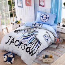Black White and Light Blue Modern Chic Zebra and Medallion Print Personalized Reversible 100% Cotton Twin Size Bedding Sets