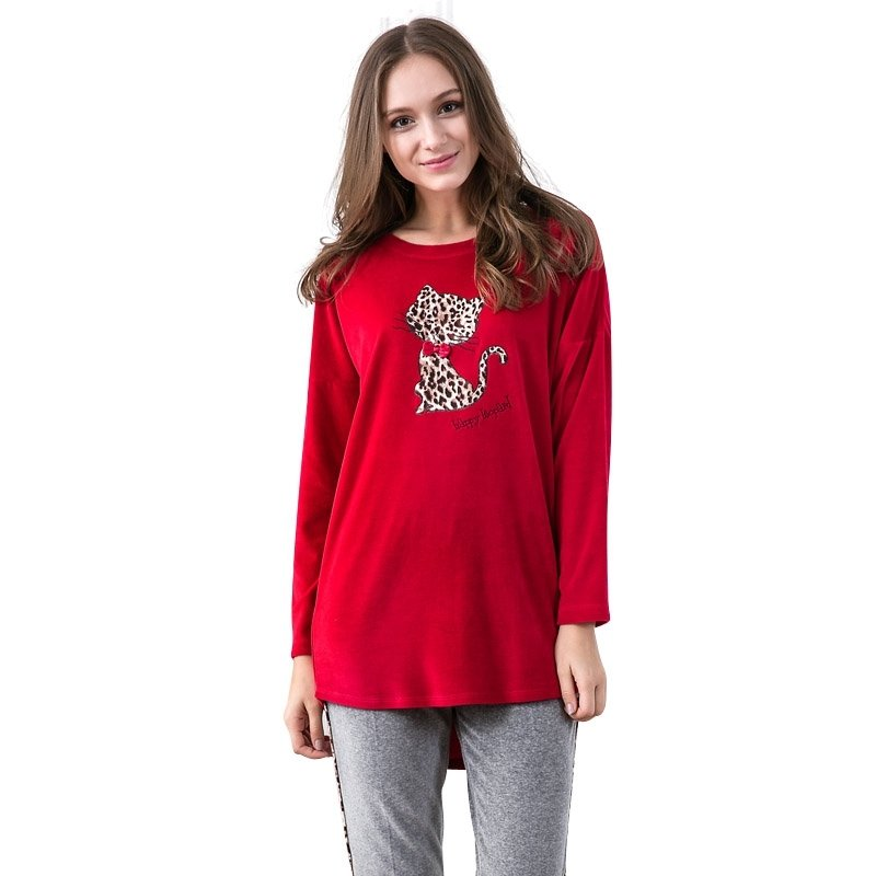Red Animal Cheetah Print Long Sleeve Autumn Winter Contracted Pajamas for Girls M L XL XXL