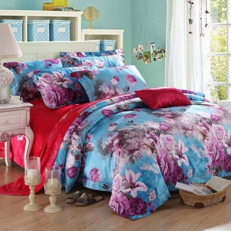 Dodger Blue Violet Purple and Red Asian Floral Print Oriental Style Elegant Girls 100% Egyptian Cotton Full, Queen Size Bedding Sets