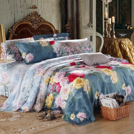 Slate Gray Red and Pale Pink Rustic Flower Print Vintage French Country 100% Egyptian Cotton Full, Queen Size Bedding Sets