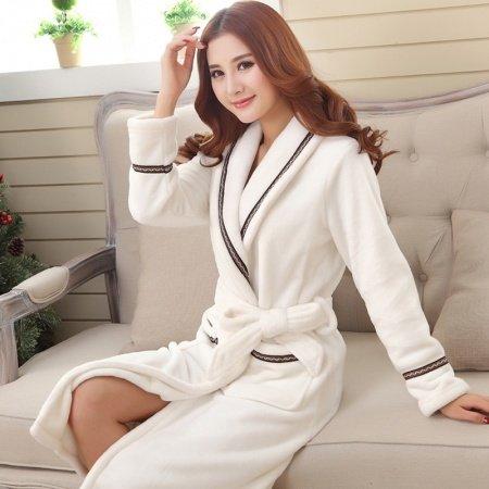 Snow White Elegant Flannel Bathrobe Night Robe Winter Pajamas for Women Girls M L XL XXL