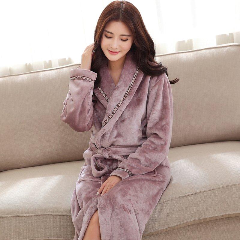 Plain Light Purple Noble Flannel Bathrobe Night Robe Winter Pajamas for Girls M L XL XXL