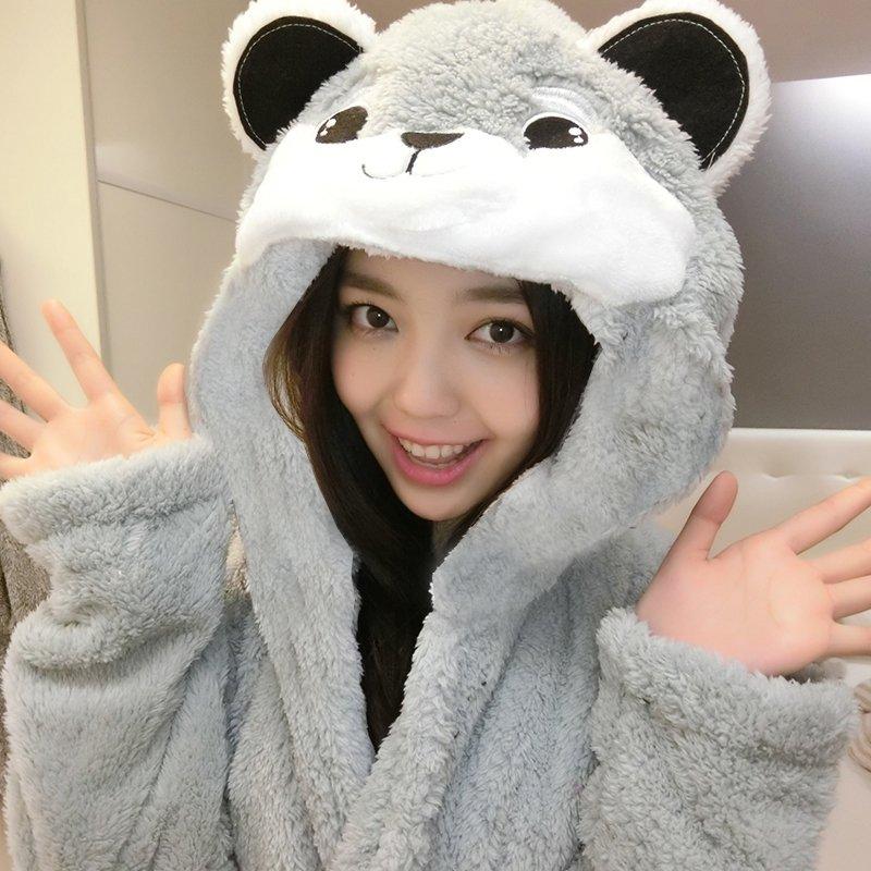 Cartoon Grey Bear Pattern Bathrobe Robe Cute Spa Hooded Flannel Pajamas for Girls M L