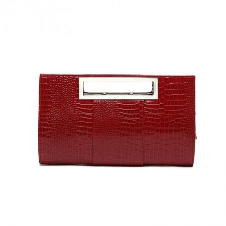Durable Garnet Red Patent Leather Women Casual Party Evening Clutch Personalized Embossed Crocodile Sequin Crossbody Shoulder Tote Bag