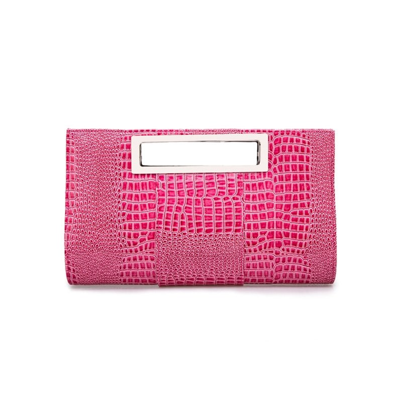 Hipster Hot Pink Patent Leather Lady Casual Party Evening Clutch Personalized Embossed Crocodile Feminine Crossbody Shoulder Tote Bag