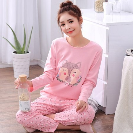 Rose Pink Fox Print Cute Stylish Pajamas for Girls XL