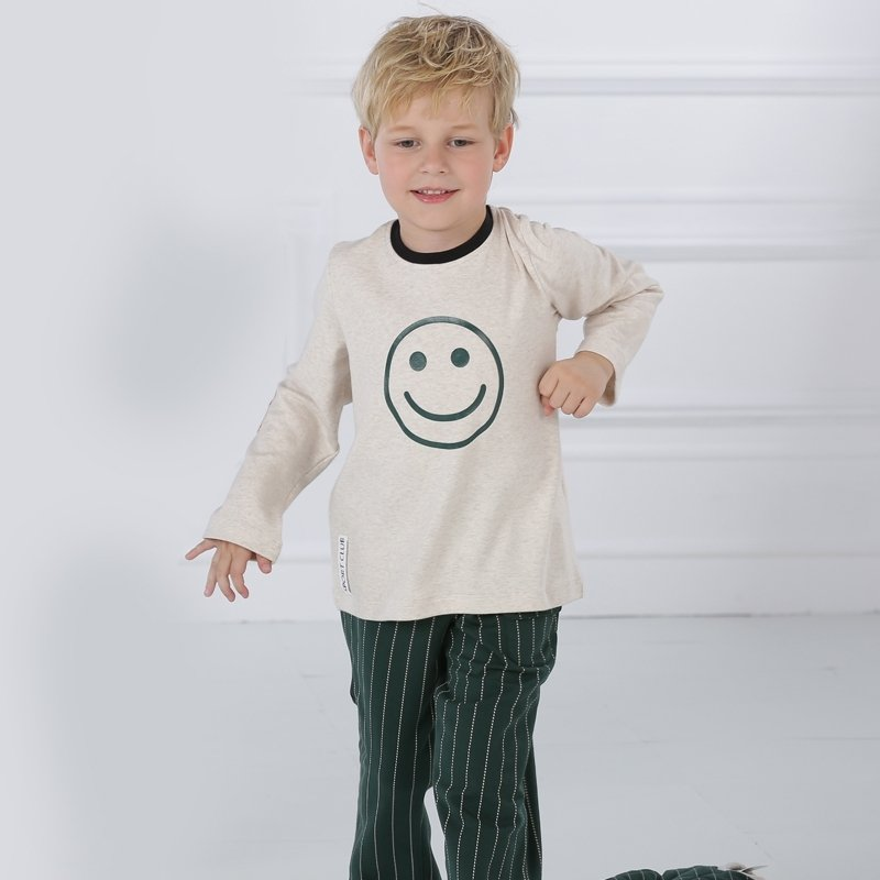 100% Cotton Smiley Emoji Print Grey Long Sleeve Shirt and Green Striped Trousers Cute Pajamas for Kids