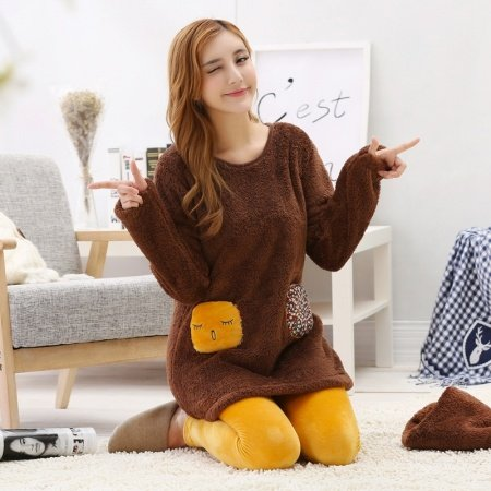 Mink Chocolate Long Sleeve Shirt and Yellow Trousers Warm Adorable Flannel Pajamas for Women M L XL