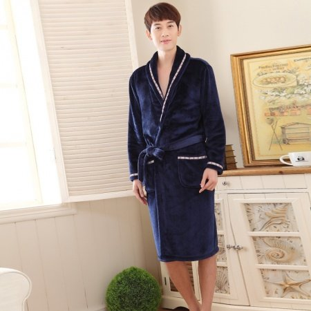 Solid Navy Flannel Wide-Lapel Bathrobe with Edge Trim Night Robe Free Size Pajamas for Men