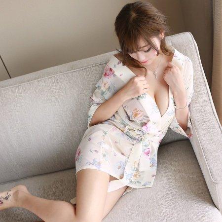 Beige Yellow Flower Print Sexy Translucent Free Size Nightdress Kimono Pajamas for Women