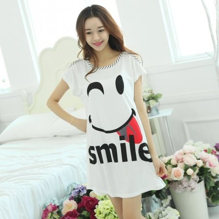 White 100% Cotton Smile Face Print Cartoon Night Dress Cute Summer Pajamas M L XL XXL