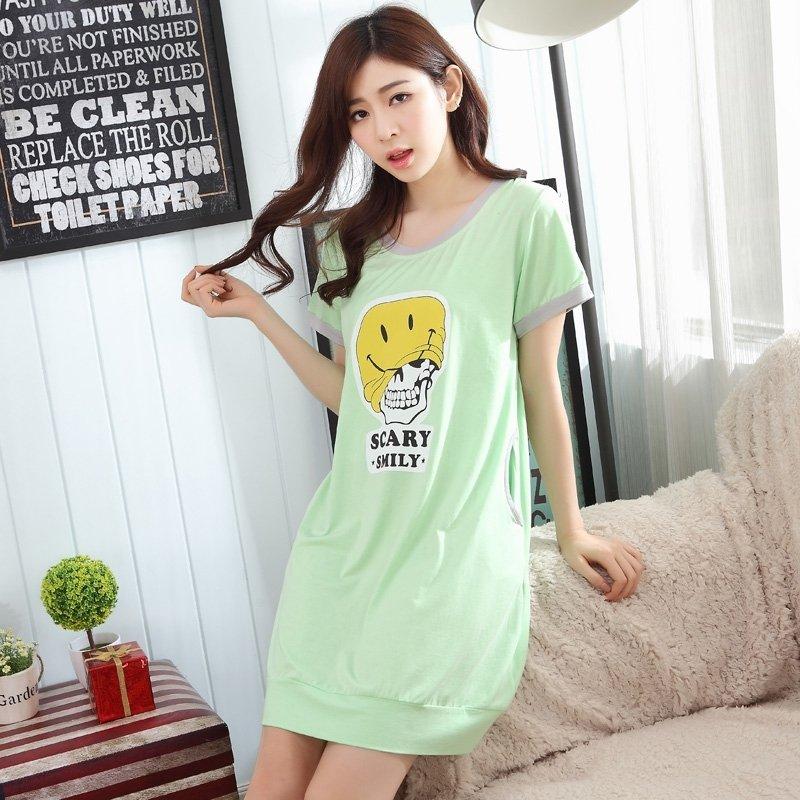 Light Green Scary Smiley Emoji Print Viscose Short Sleeve Long T-Shirt Night Dress Vogue Pajamas