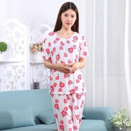 Flower Print Viscose 2 Pieces Short Sleeve and Cropped Trousers Plus Size Pajamas XXL XXXL XXXXL