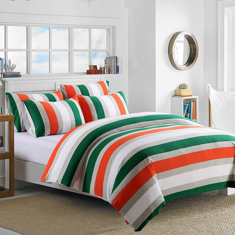 Boys Dark Green Orange Grey and White Rugby Stripe Print Preppy Style Knitted 100% Egyptian Cotton Full, Queen Size Bedding Sets