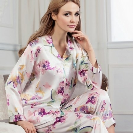 Pansy Flower Print 100% Mulberry Silk 2 Pieces Pajamas for Feminine Girly M L XL