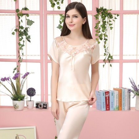 Antique White 100% Nature Silk Short Sleeve Shirt Knee Length Pants Simply Chic Stylish Pajamas for Feminine Girly M L XL XXL