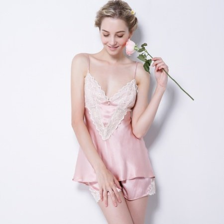 Pale Pink 100% Chinese Silk Sleeveless Camisole and Short Fashion Sexy Contracted Pajamas for Feminine Girly M L XL
