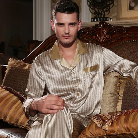 Champagne Stripe Print Long Sleeve Single-Breasted 100% Chinese Silk 2 Pieces Pajama Set for Men Boys L XL XXL