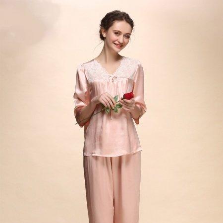 Pale Pink 100% Pure Silk 2 Pieces Lace Half-Sleeve Shirt Trousers Spring Autumn Luxurious Elegant Pajamas M L XL XXL