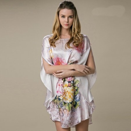 Pink 100% Real Silk Chinese Style Big Flower Print Batwing Sleeve Open Sleeve Midi Nightdress Free Size Pajamas for Women