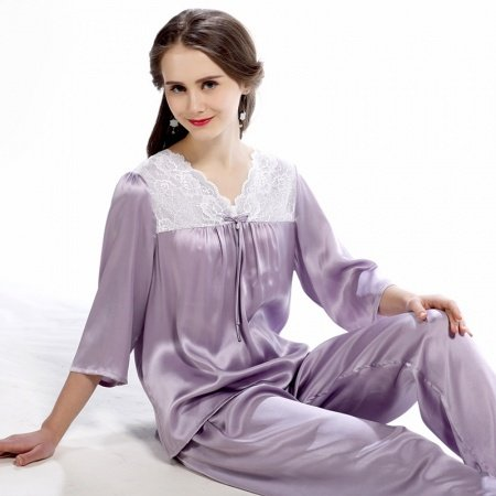 Light Purple 100% Real Silk Half-Sleeve Shirt with Elegant Lace Border Trim and Full Pants Fashion Pajamas M L XL XXL