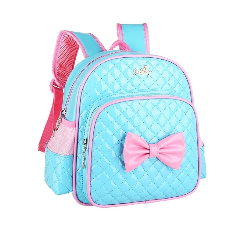 Turquoise Patent Leather With Pink Bow Quilted Girls School Backpack