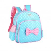 Turquoise Patent Leather with Pink Bow Quilted Girls School Backpack Personalized Sewing Pattern Sequin Pupil Campus Book Bag