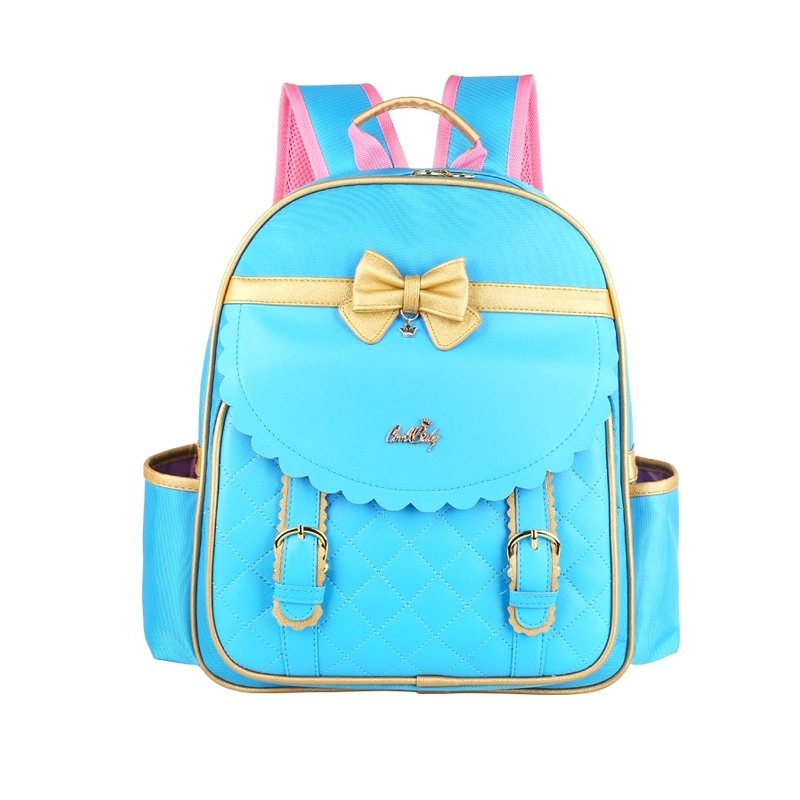 Modern Chic Aqua Blue Patent Leather with Gold Trim Bow Quilted School Backpack Durable Sewing Pattern Girls Preppy Campus Book Bag