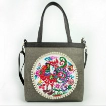 Hipster Khaki Brown Canvas with Gray Handle Lady Tote Colorful Rosette Pattern Vintage Floral and Rooster Print Crossbody Shoulder Bag