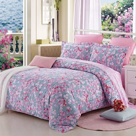 Red Pink and Gray Beautiful Cherry Blossom Print Shabby Chic Country Club Rustic Style 100% Cotton Full Size Bedding Sets