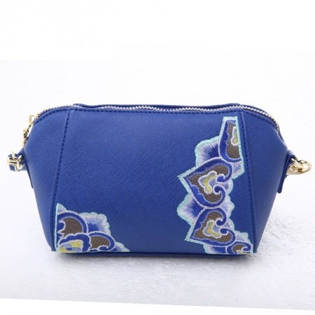 Upscale Navy Blue Patent Leather Women Casual Party Evening Clutch Wristlet Bohemian Embroidered Tribal Small Crossbody Shoulder Bag