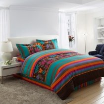 Turquoise and Brown Multi Stripe and Floral Print 100% Cotton Full, Queen Size Bedding Sets