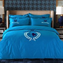 French Blue White and Black Medallion Print Preppy Style Embroidered Design Traditional 100% Cotton Damask Full, Queen Size Bedding Sets