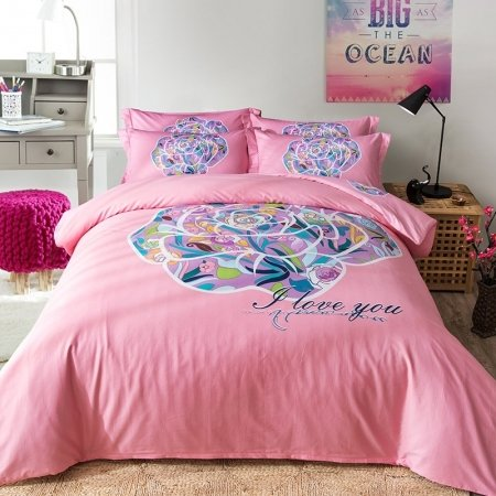 Hot Pink Green Purple and Blue Colorful Flower Print Abstract Rose Pattern Feminine Feel 100% Cotton Full, Queen Size Bedding Sets