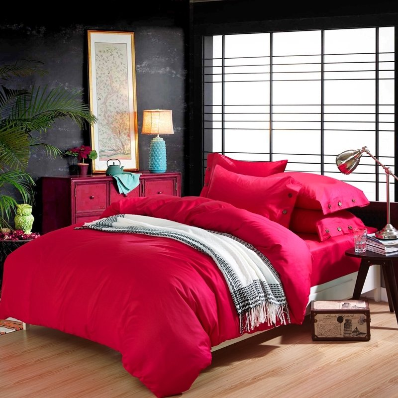 Pure Cardinal Red Solid Colored Simply Chic Modern Chic Feminine Feel 100% Cotton Twin, Full, Queen Size Bedding Sets
