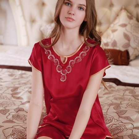 Vivid Burgundy 100% Nature Silk Embroidered Short Sleeve Knee Length 2 Pieces Elegant Pajama Set for Feminine Girly M L XL