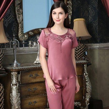 Turkish Rose 100% Nature Silk Short Sleeve Shirt Knee Length Pants Simply Chic Stylish Pajamas for Feminine Girly M L XL XXL