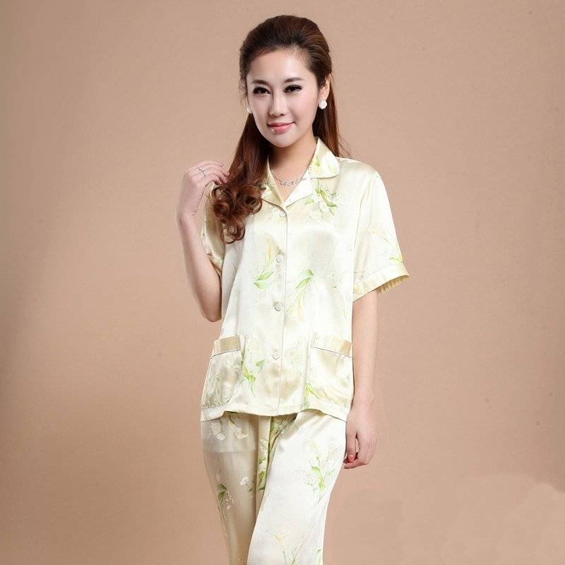 Beige Calla Lily Flower Print 100% Silk Short Sleeve Shirt and Long Pants Contracted Pajamas M L XL XXL XXXL