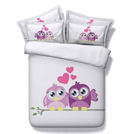 Lilac Purple and Light Gray Owl and Sweetheart Print Funky Style Elegant Girls Microfiber Fabric Twin, Full, Queen, King Size Bedding Sets