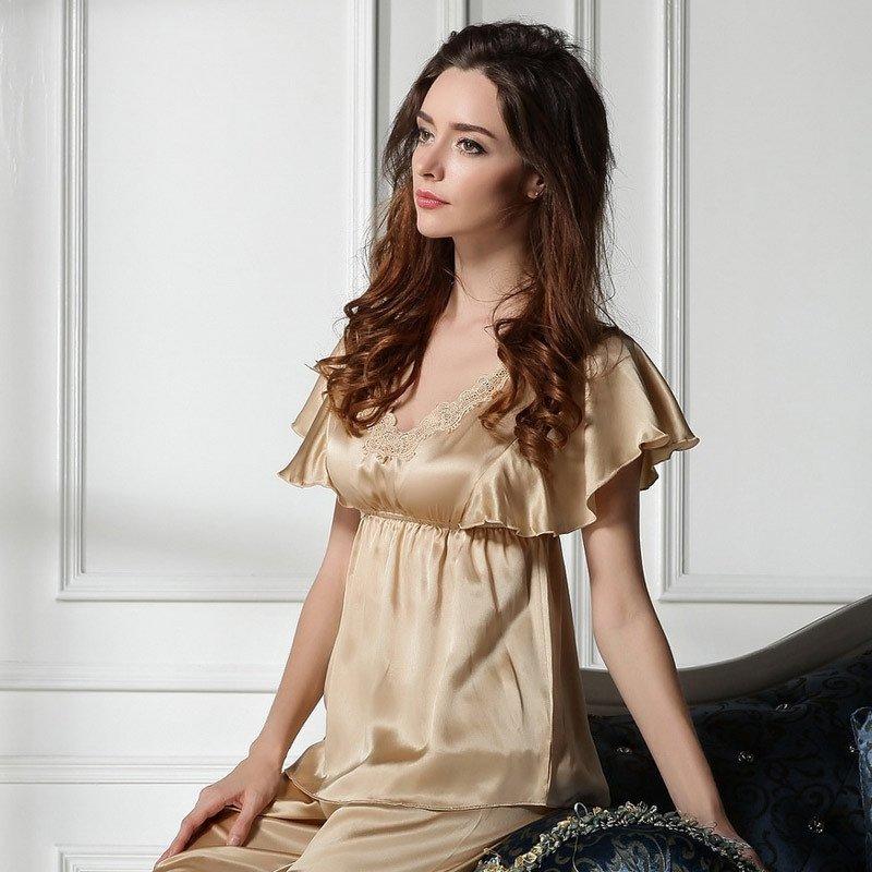 Champagne 100% Mulberry Silk Lace Border Elastic Shirt Knee Length Pants Romantic Noble Pajamas for Feminine Girly M L