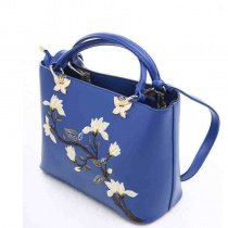 Sapphire Blue Faux Leather with Gold Hardware Women Casual Tote Vintage Embroidered Floral Sewing Pattern Crossbody Shoulder Handle Bag