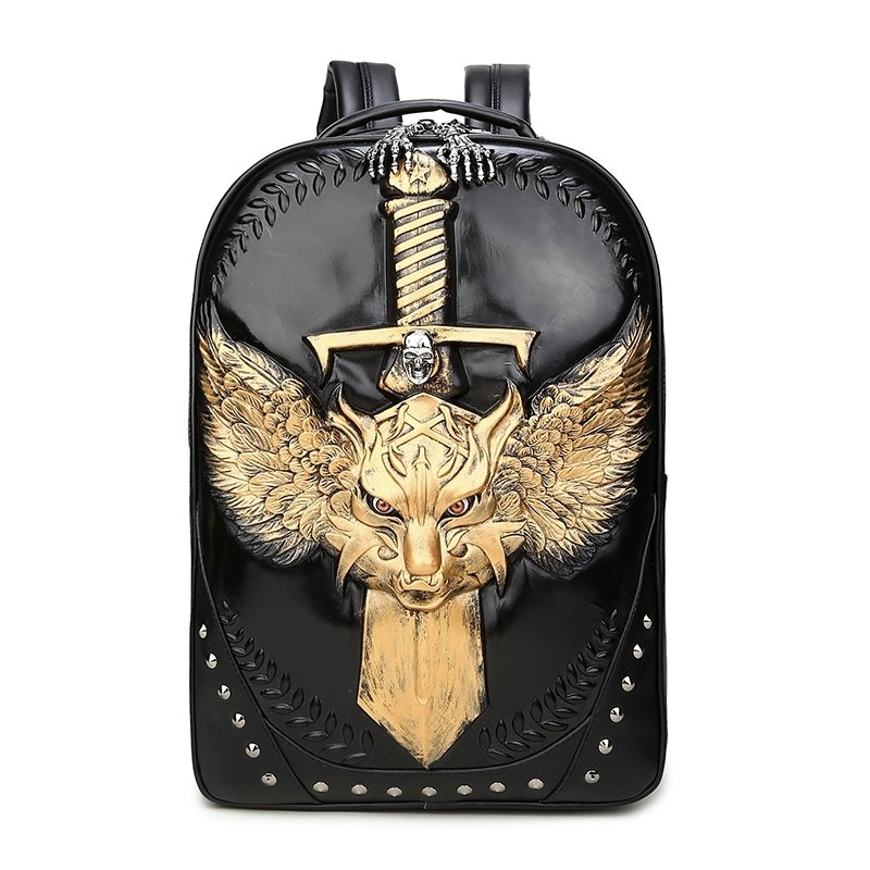 Black Patent Leather Engraved Metallic Gold Dragon Cool Men Travel Backpack Punk Rock and Roll Skull Rivet Studded School Campus Book Bag