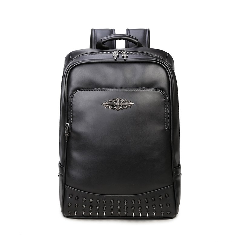 Durable Black Patent Leather Spikes Rivet Studded Men Travel Backpack Punk  Rock and Roll Sewing Pattern Sequin School Campus Book Bag 9d2b464ff1a37