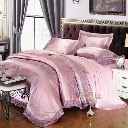 Thulian Pink Rococo Pattern Sequin Design Antique Lace Design Luxury Jacquard Satin Full, Queen Size Bedding Sets