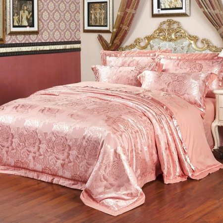 Elegant Girls Pink Victorian Rose Pattern Romantic Noble Excellence Sequin Jacquard Satin Full, Queen Size Bedding Sets
