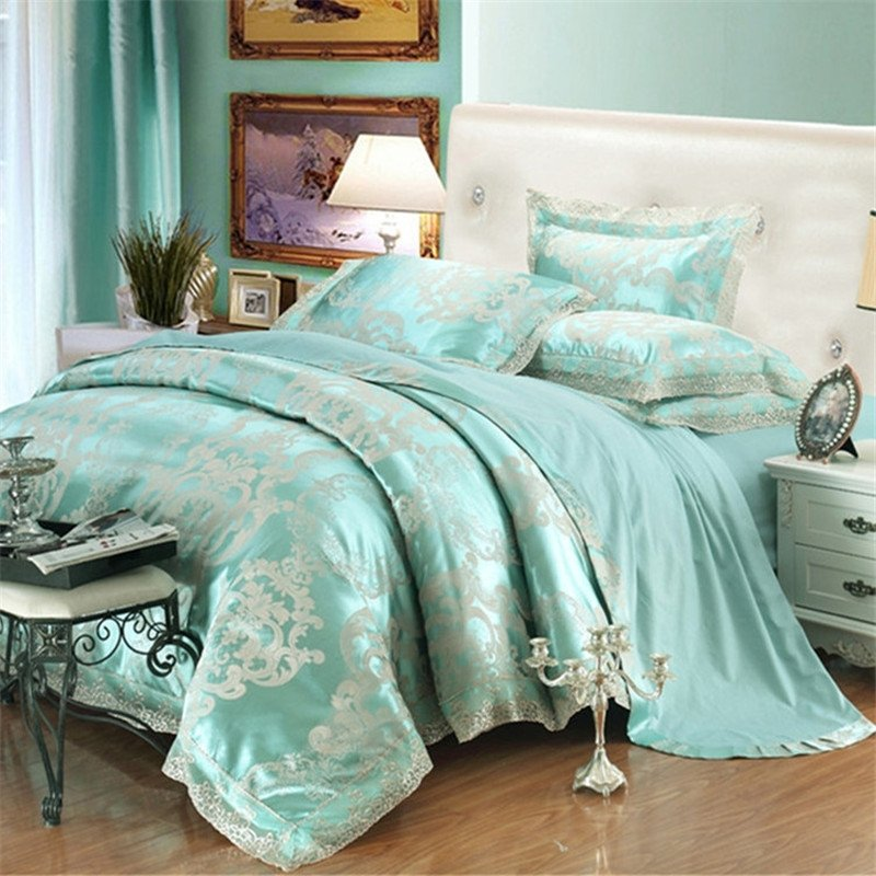 Bright Turquoise and Silver Gothic Pattern Baroque Style Antique Lace Design Upscale Jacquard Satin Full, Queen Size Bedding Sets