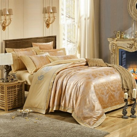 Sparkly Metallic Gold Gothic Pattern European Style Embroidered Design Boutique Jacquard Satin Fabric Full, Queen Size Bedding Sets
