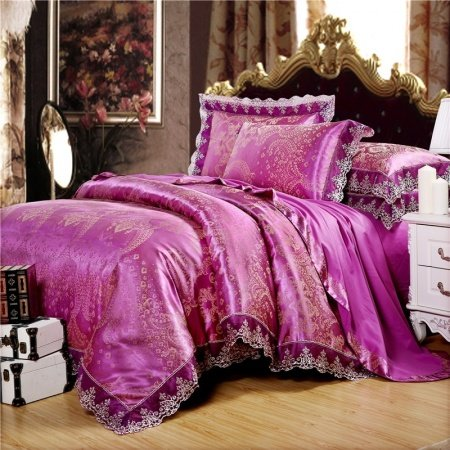 Noble Excellence Red-violet and Gold Western Paisley Pattern Sophisticated Design Sequin Jacquard Satin Full, Queen Size Bedding Sets