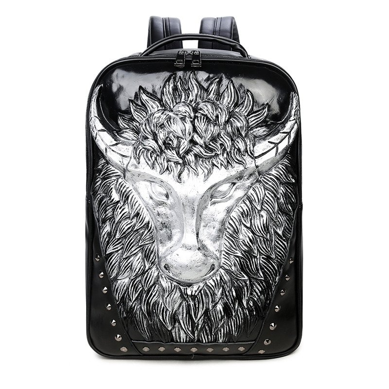Metallic Silver Black Leather Cool Boys School Campus Book Bag Punk Style  Embossed Cape Buffalo Rivet Studded Large Travel Laptop Backpack 122417ac7984f